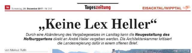 TAGESZEITUNG_Keine Lex Heller